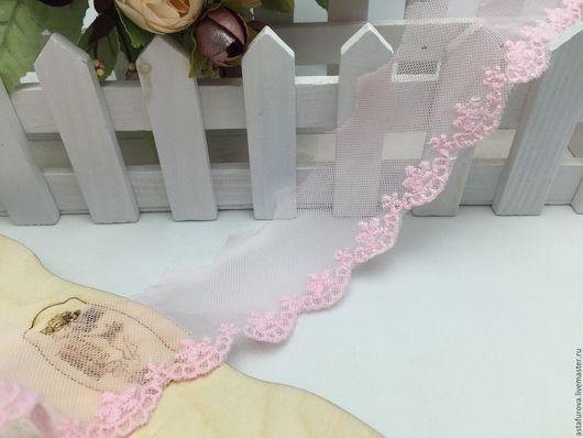 Шитье ручной работы. Ярмарка Мастеров - ручная работа. Купить арт. 855-856 Кружево 4 см., белое и розовое. Handmade.