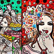 """Картины и панно ручной работы. Ярмарка Мастеров - ручная работа Картина """"Взрослые принцессы"""". Комикс. Поп-арт. Современное искусство. Handmade."""