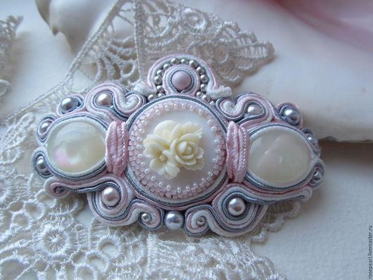 """Заколки ручной работы. Ярмарка Мастеров - ручная работа. Купить Заколка сутажная""""Rose pearl"""" нежный цвет. Handmade. Свадьба"""