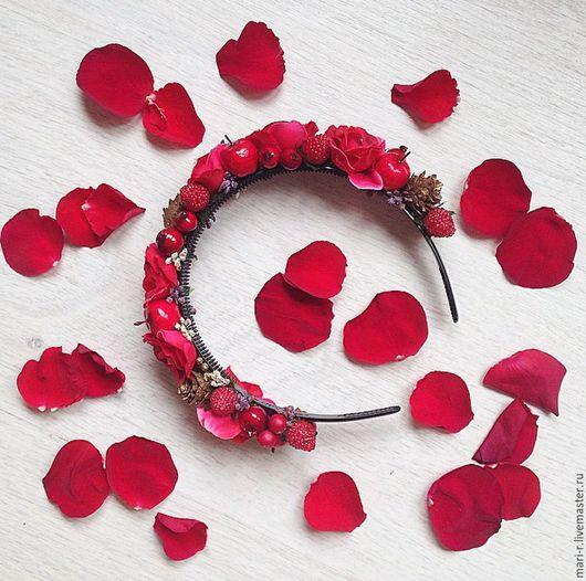 """Диадемы, обручи ручной работы. Ярмарка Мастеров - ручная работа. Купить Ободок с цветами """"Ягодный"""". Handmade. Бордовый, розы, ягоды"""