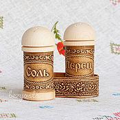 Для дома и интерьера handmade. Livemaster - original item Spice set with wood stand. a set of salt and pepper. Handmade.