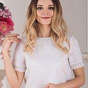 Одежда handmade. Livemaster - original item Cotton blouse with lace. Handmade.