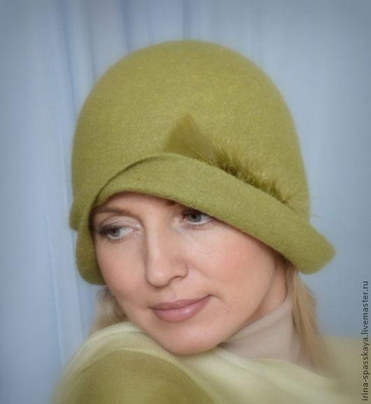 """Шляпы ручной работы. Ярмарка Мастеров - ручная работа. Купить Дамская шляпка-клош """"Свежести глоток"""". Handmade. Салатовый, войлок"""