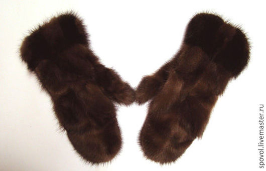 Варежки, митенки, перчатки ручной работы. Ярмарка Мастеров - ручная работа. Купить Варежки из лапок норки. Handmade. Коричневый, варежки