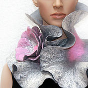 Аксессуары ручной работы. Ярмарка Мастеров - ручная работа Валяный шарф-воротник Розовая серость. Handmade.