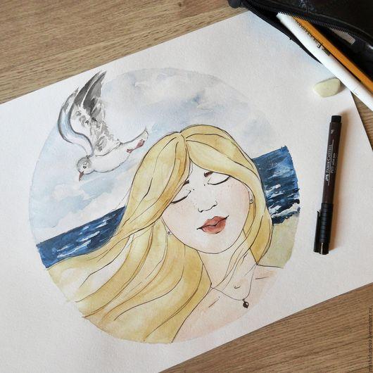 Люди, ручной работы. Ярмарка Мастеров - ручная работа. Купить Небо, море, облака.... Handmade. Комбинированный, девушка, лето, картина
