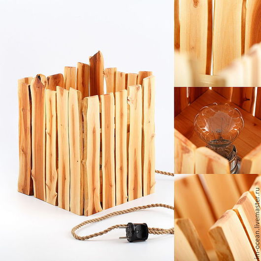 Освещение ручной работы. Ярмарка Мастеров - ручная работа. Купить Настольная лампа «Quattro S». Handmade. Желтый, яблоня