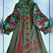 Одежда handmade. Livemaster - original item Embroidered linen dress