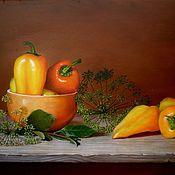 Картины и панно ручной работы. Ярмарка Мастеров - ручная работа Оранжевые перцы. Handmade.