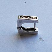 Украшения handmade. Livemaster - original item Men`s earring with gold pattern. Handmade.