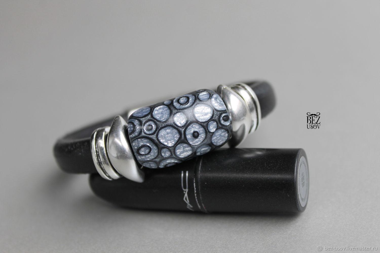 Leather bracelet Regaliz ' Geometry silver', Regaliz bracelet, Domodedovo,  Фото №1