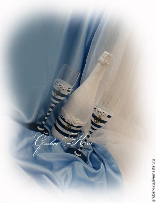 Свадебные аксессуары ручной работы. Ярмарка Мастеров - ручная работа. Купить Свадебное оформление бутылки в морском стиле. Handmade. Синий