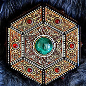 Для дома и интерьера handmade. Livemaster - original item Malachite-Amber hexagon chest with legs. Handmade.