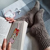 Аксессуары handmade. Livemaster - original item Coffee openwork socks for women knitted leaves homemade merino. Handmade.