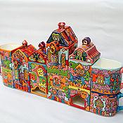 """Посуда ручной работы. Ярмарка Мастеров - ручная работа Чайный сервиз  """"Радужный Город"""". Handmade."""