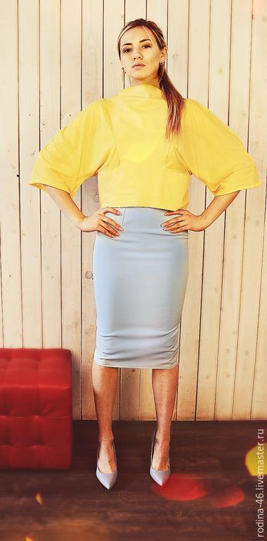 Кофты и свитера ручной работы. Ярмарка Мастеров - ручная работа. Купить юбка и свитшот. Handmade. Желтый, сетка стрейч