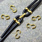 Материалы для творчества ручной работы. Ярмарка Мастеров - ручная работа Зажимы Восьмерка для шнуров 7 х 3 мм Золото По 20 шт. Handmade.