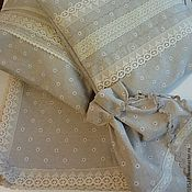 Для дома и интерьера ручной работы. Ярмарка Мастеров - ручная работа Льняной набор: скатерть, подушечки, мешочек. Handmade.