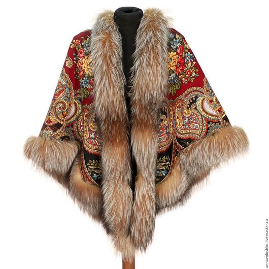 Павловопосадский платок с мехом. Лиса, чернобурка, песец, куница.