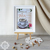 Картины и панно handmade. Livemaster - original item Picture beaded Cappuccino in Pisa. Handmade.