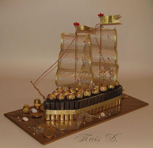"""Подарки для мужчин, ручной работы. Ярмарка Мастеров - ручная работа. Купить Корабль """"Мерси"""". Handmade. Подарки из конфет таис"""
