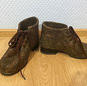 Обувь ручной работы. Ярмарка Мастеров - ручная работа Валяные женские ботинки.. Handmade.