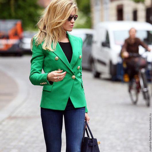 Пиджаки, жакеты ручной работы. Ярмарка Мастеров - ручная работа. Купить Пиджак casual. Handmade. Ярко-зелёный, пиджак женский