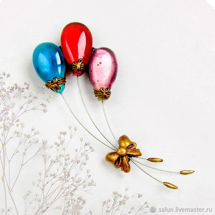 Brooch Balloons( turquoise, red, pink), Brooches, Almetyevsk,  Фото №1