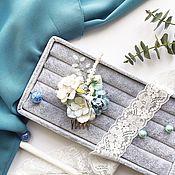 Свадебный салон ручной работы. Ярмарка Мастеров - ручная работа Гребень с цветами небесно - голубых оттенков. Handmade.