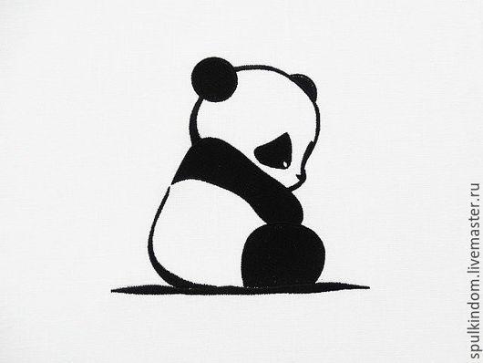 Льняной мешочек с вышивкой `Грустный панда` `Шпулькин дом` мастерская вышивки