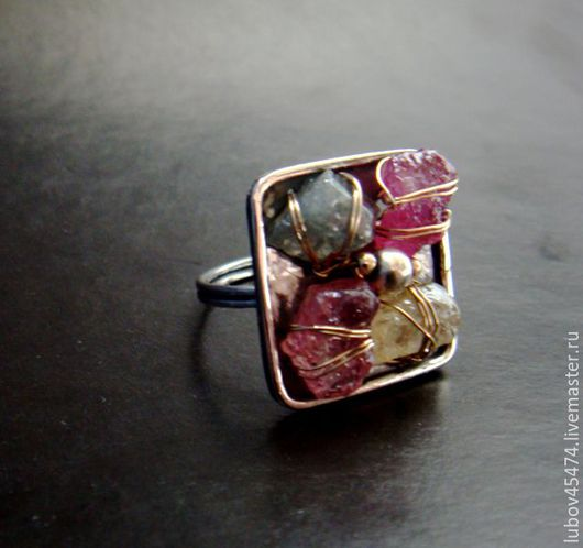 """Кольца ручной работы. Ярмарка Мастеров - ручная работа. Купить Кольцо из серебра """"Изольда"""". Handmade. Комбинированный, серебряные украшения, малиновый"""