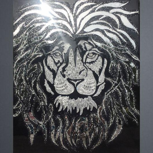 Животные ручной работы. Ярмарка Мастеров - ручная работа. Купить Белый лев. Handmade. Картина, панно, блеск, абстракция, лев