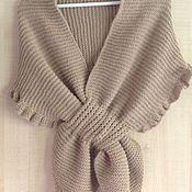 Аксессуары ручной работы. Ярмарка Мастеров - ручная работа Тёплый палантин-накидка на плечи шарф  ручной вязки купить. Handmade.