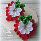 Работы для детей, handmade. Livemaster - original item Hair bands Strawberry in the technique of kanzashi. Handmade.