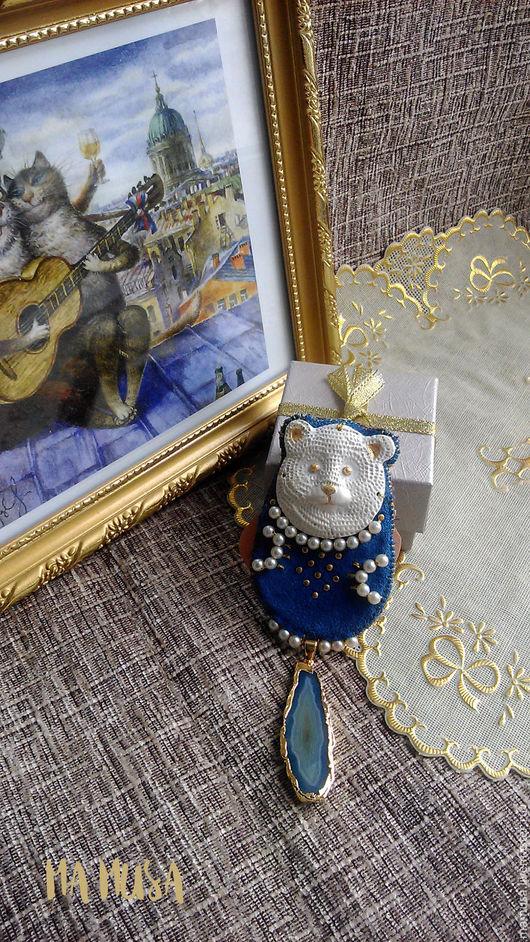 """Броши ручной работы. Ярмарка Мастеров - ручная работа. Купить Брошь """"Мишка на льдине"""". Handmade. Синий, стразы, брошь с агатом"""