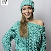 Одежда handmade. Livemaster - original item Stylish sweater mint color. Handmade.