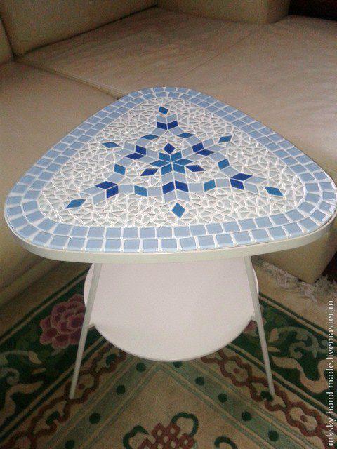 """Авторский мозаичный кофейный столик """"Снежинка""""  добавит ажурность, легкость и свежесть Вашему интерьеру.  MKsky"""