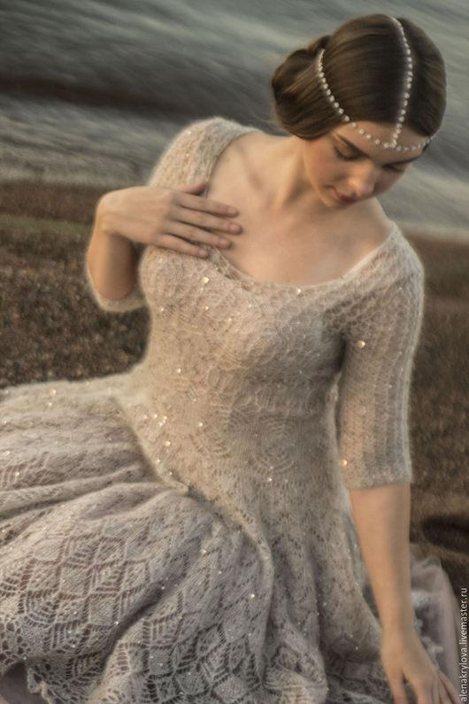 Платья ручной работы. Ярмарка Мастеров - ручная работа. Купить Ажурное платье из мохера. Handmade. Сказочное, блестящее платье, шерсть