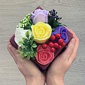 Косметика ручной работы handmade. Livemaster - original item Soap bouquet in a box Purple roses. Handmade.