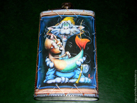 """Подарки для мужчин, ручной работы. Ярмарка Мастеров - ручная работа. Купить Фляга """"Рыбка моя"""". Handmade. Тёмно-синий"""