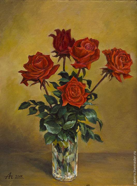 """Картины цветов ручной работы. Ярмарка Мастеров - ручная работа. Купить Картина маслом """"Поздние розы"""". Handmade. Ярко-красный"""