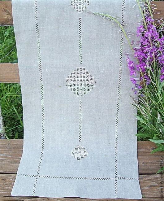 Текстиль, ковры ручной работы. Ярмарка Мастеров - ручная работа. Купить Дорожка льняная три ромба серая или белая. Handmade.