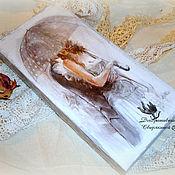 """Для дома и интерьера ручной работы. Ярмарка Мастеров - ручная работа шкатулка-купюрница """"Двое под дождём"""". Handmade."""