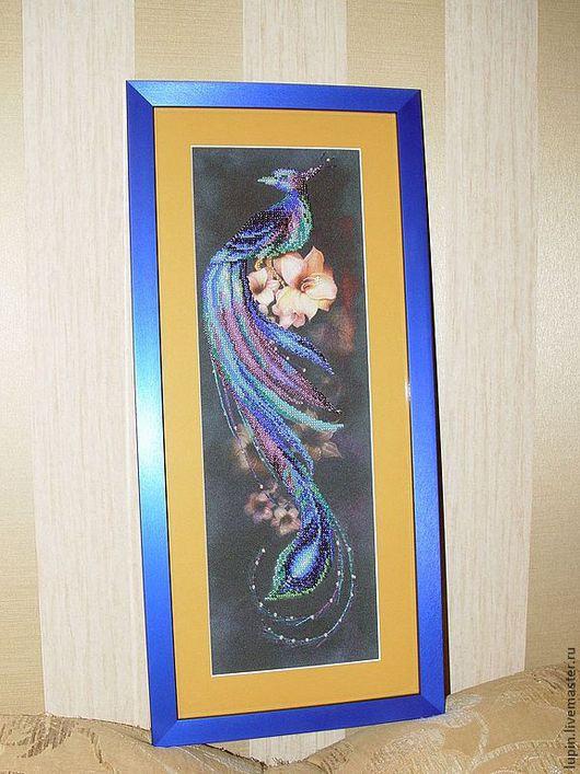 """Животные ручной работы. Ярмарка Мастеров - ручная работа. Купить Картина из бисера на канве""""Синяя птица"""". Handmade. Картина в подарок, паспарту"""