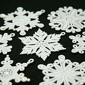 Подарки к праздникам handmade. Livemaster - original item Set of snowflakes on the Christmas tree with rhinestone 7 PCs.. Handmade.