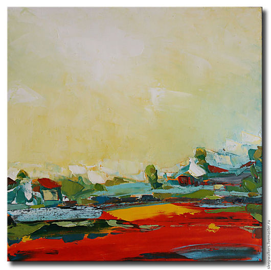 """Пейзаж ручной работы. Ярмарка Мастеров - ручная работа. Купить """"Имеретия"""" 50х50 см красная картина маслом мастихином пейзаж. Handmade."""
