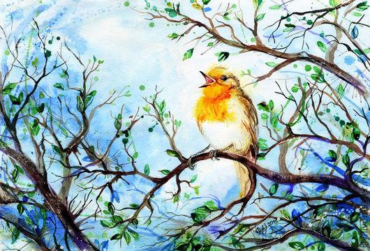 """Животные ручной работы. Ярмарка Мастеров - ручная работа. Купить Картина """"Апрель"""". Handmade. Зарянка, весна, деревья, птица, песня"""