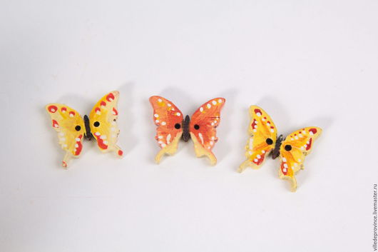 Пуговицы Бабочки в желто-оранжевых тонах