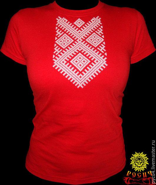 Футболка женская обережная `Макошь`. 100% хлопок. Вышивка крестом по вороту. При заказе просьба указывать размер футболки,  по желанию - цвет футболки и вышивки.