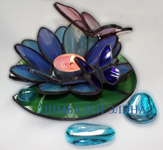 """Подсвечники ручной работы. Ярмарка Мастеров - ручная работа. Купить Подсвечник""""Лотос с бабочками"""". Handmade. Подсвечник, подарок подруге, стекло"""